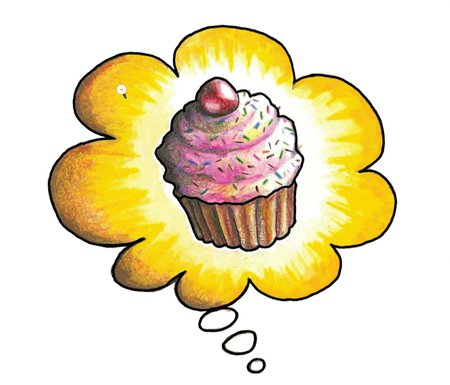 cartoon image of a cupcake in a thought bubble