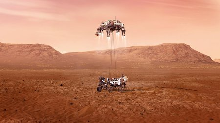 Illustration of a rover being lowered to the brown-red flat surface of Mars by a small hovering rocket.