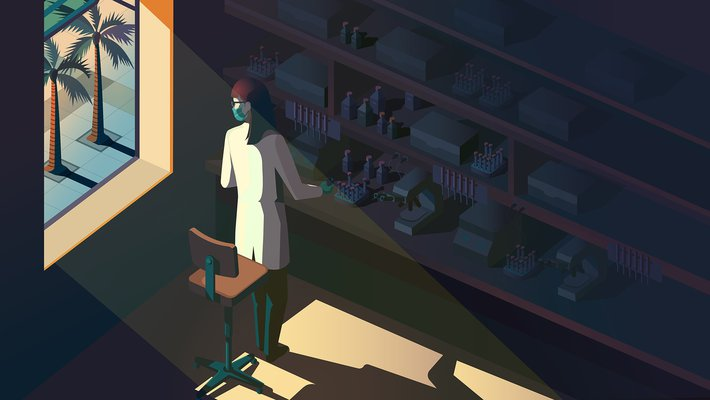 graphic of researcher in lab with mask on