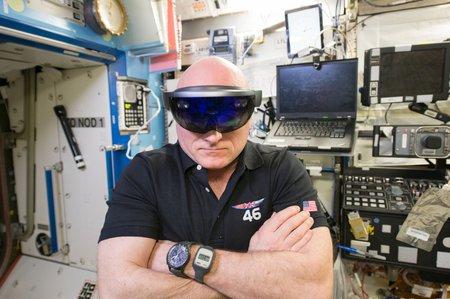 astronaut Scott Kelly wearing a HoloLens device