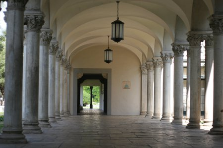 Columns along a covered walkway