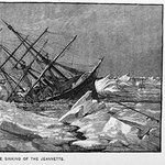 A woodcut showing the U.S.S. Jeannette being crushed by sea ice.